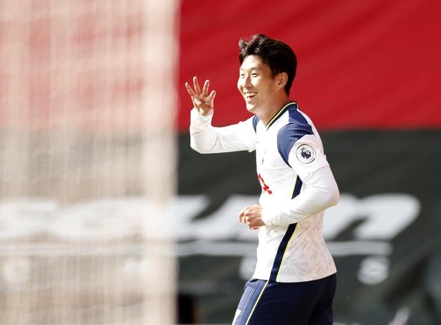 Tottenham's Son Heung-min celebrates scoring his fourth goal