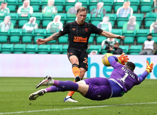 Scott Arfield missed two good chances against Hibernian