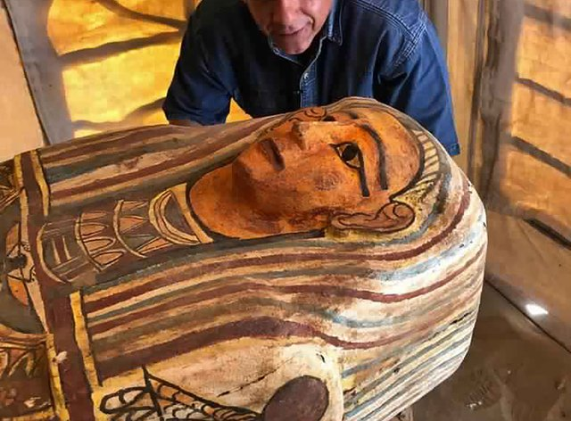 One of more than two dozen ancient coffins unearthed near the famed Step Pyramid of Djoser in Saqqara, south of Cairo, Egypt (Ministry of Tourism and Antiquities/AP)