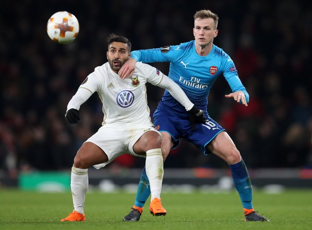 Saman Ghoddos, left, played for Ostersund against Arsenal in the Europa League in 2018