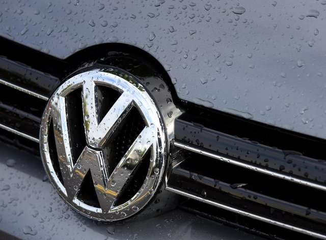 A Volkswagen badge on a car