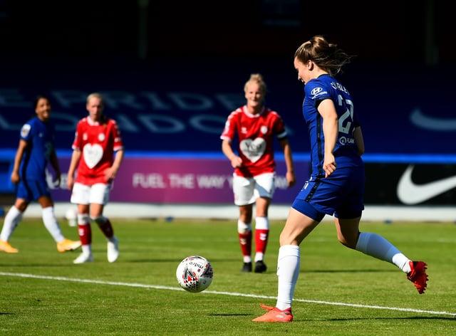 Charles scored her first goal for Chelsea against Bristol City