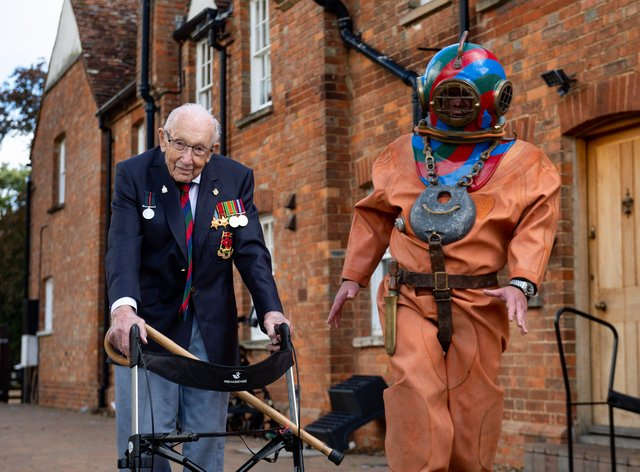 Captain Sir Tom Moore in Marston Moretaine, Bedford with veteran fundraiser Lloyd Scott, who will attempt to climb the Three Peaks whilst wearing a deep sea diving suit.