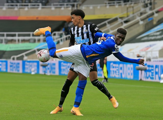 Yves Bissouma was dismissed for a dangerous challenge on Newcastle's Jamal Lewis