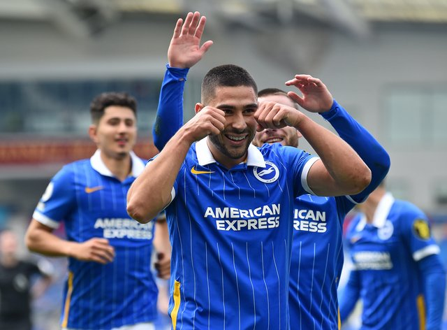 Brighton striker Neal Maupay marked his first-half goal with a mock crying celebration
