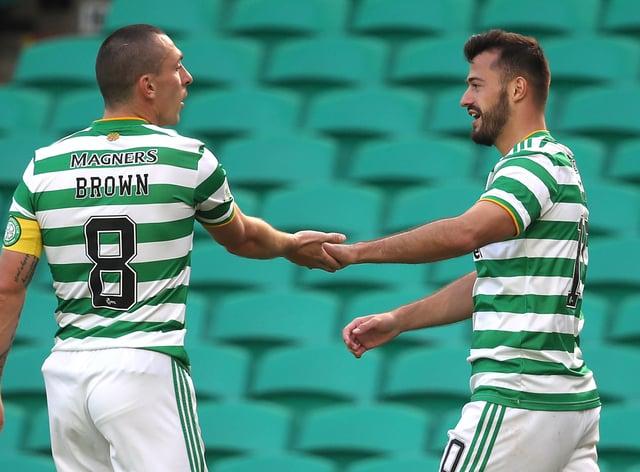 Celtic skipper Scott Brown (left) has been impressed by Albian Ajeti