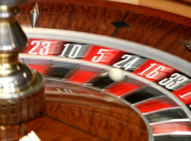 A spinning roulette wheel