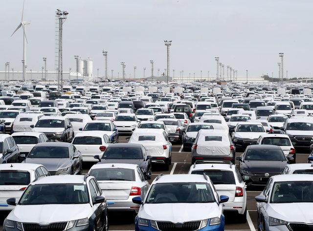 New cars on the dockside in Sheerness, Kent