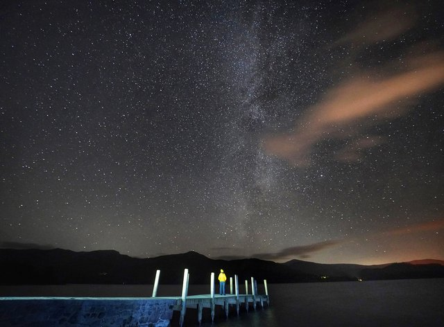 The Milky Way seen above Derwentwater in the Lake District