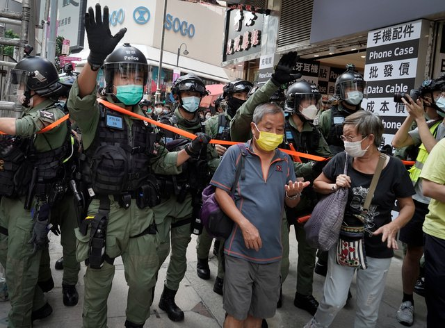 There was a heavy police presence after online calls urged people to join protests
