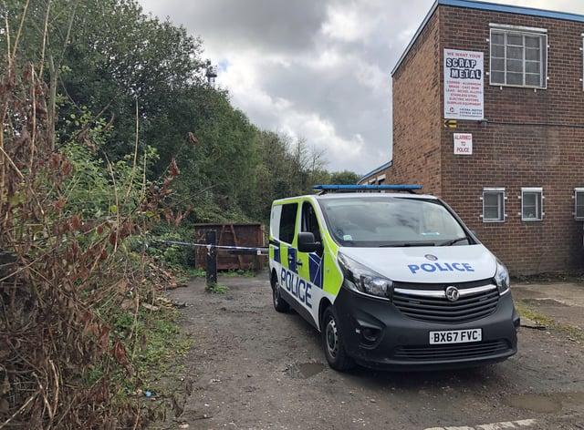 Police van at cordon