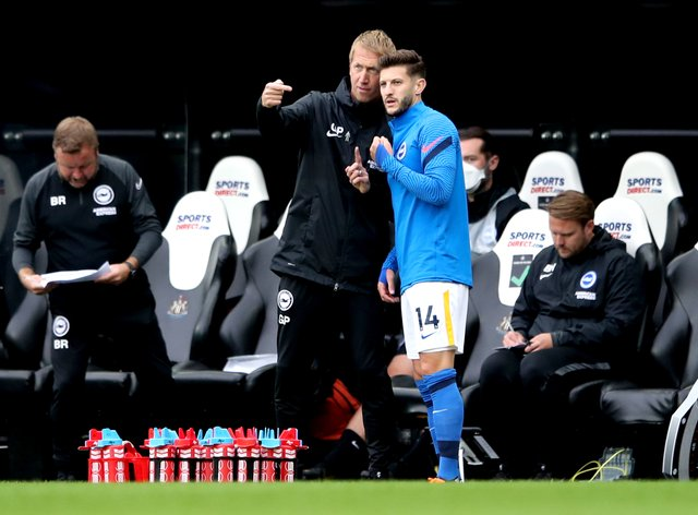 Graham Potter, left, is eager for the focus to be on developing players at Brighton, not buying more before the transfer window closes