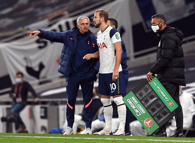Southgate says Mourinho (left) has not given instruction on when Kane can play