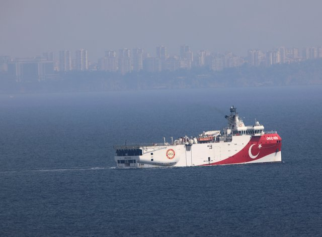 Turkey's research vessel, Oruc Reis, anchored off the coast of Antalya in the Mediterranean