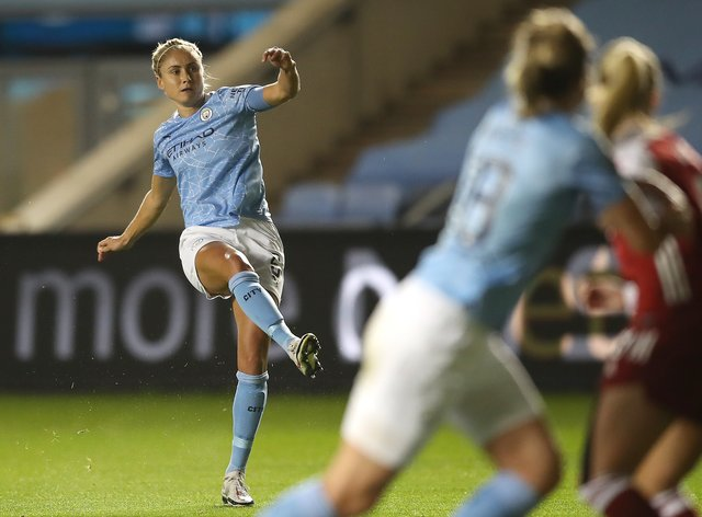 Manchester City's Steph Houghton scores the opening goal