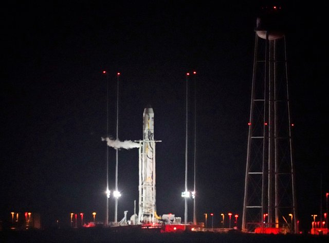 Northrup Grumman's Antares rocket sits ready to launch loo into space