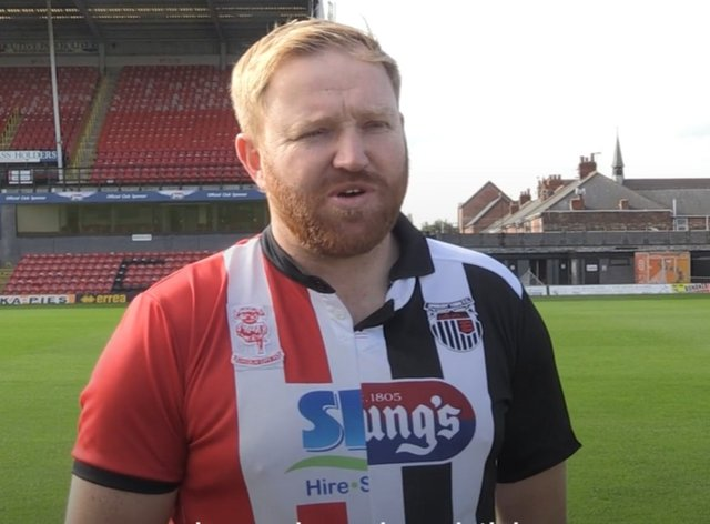 Grimsby Town's mascot James Whaley