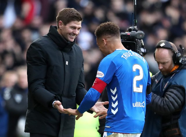 Rangers manager Steven Gerrard with James Tavernier