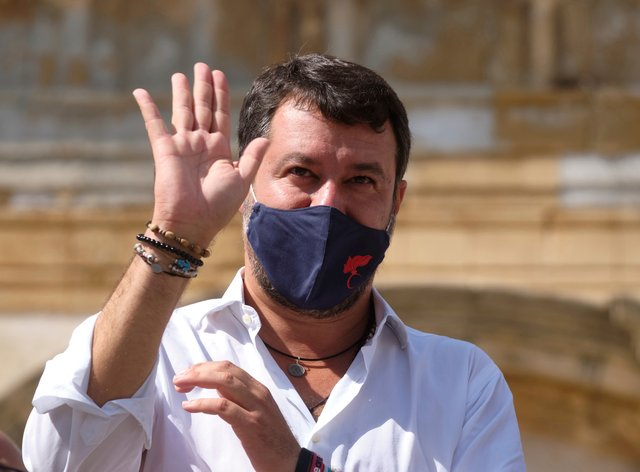 Former interior minister and leader of the League Party Matteo Salvini attends a party rally in San Giovanni La Punta, near Catania, Sicily