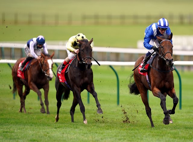Nazeef and Jim Crowley (right) on the way to winning the Kingdom of Bahrain Sun Chariot Stakes at Newmarket
