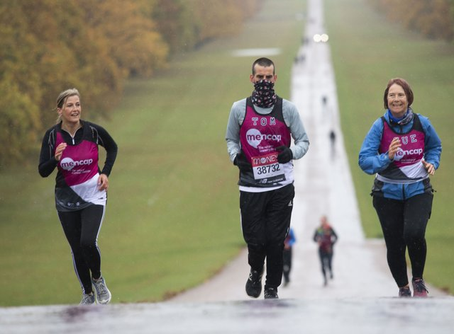 The Countess of Wessex joined Tomas Cardillo-Zallo, a member of Mencap's learning disability running team and his mother Sue, for the first 1.5 miles of their virtual London Marathon on the Long Walk in Windsor