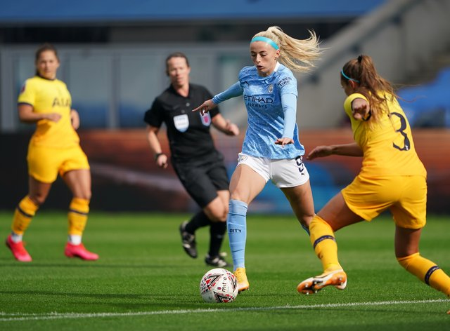 Chloe Kelly scored twice in this afternoon's clash at Manchester City's Academy ground