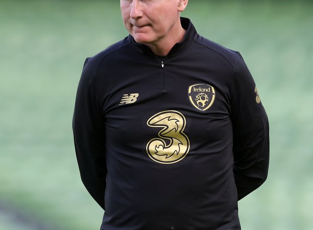 Stephen Kenny, pictured, will almost certainly be without captain Seamus Coleman for the Slovakia game