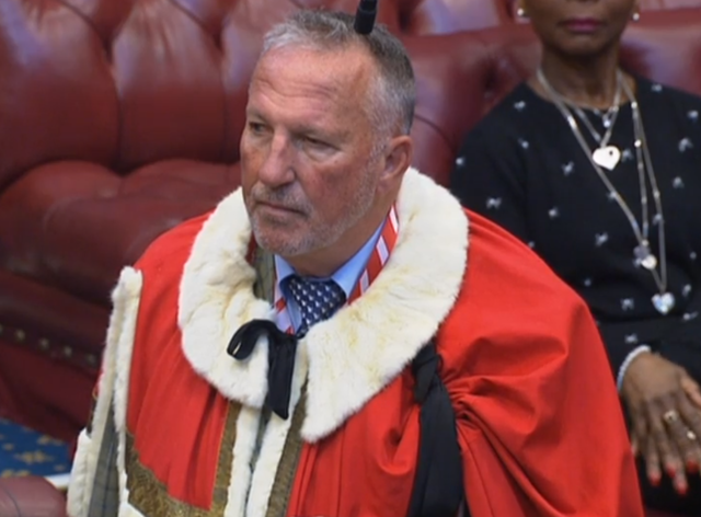 Lord Botham takes part in his House of Lords introduction ceremony