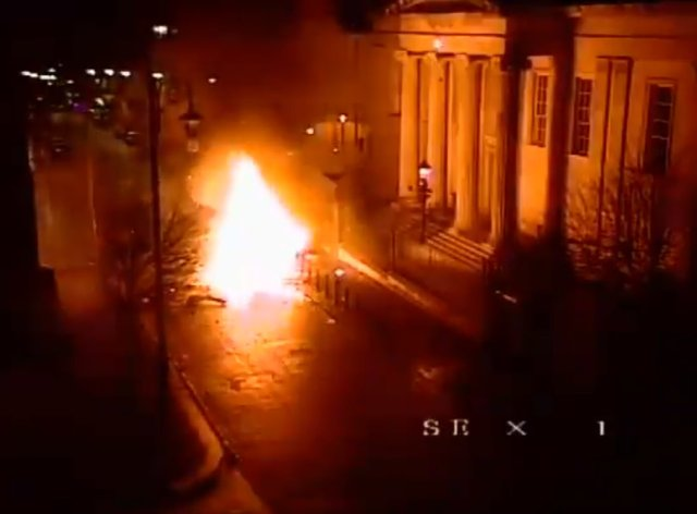 A car bomb moments after it exploded outside the court house on Bishop Street in Londonderry in 2019
