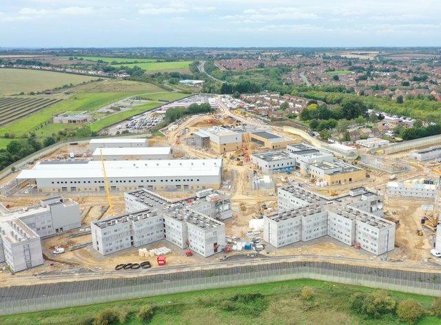 An aerial drone view of the new HMP Five Wells mega-jail in Wellingborough