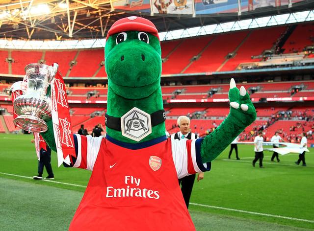 Arsenal mascot Gunnersaurus has become a cult figure