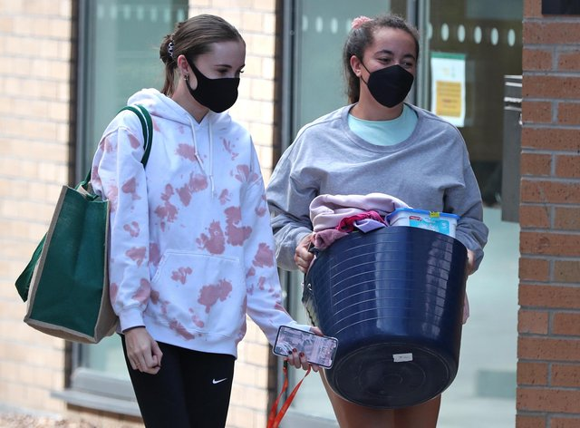 Two students wearing face masks.