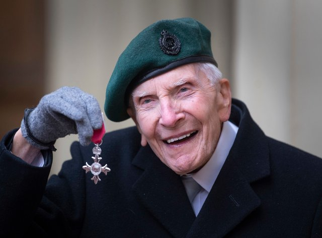 D-Day veteran Harry Billinge with his MBE for charitable fundraising