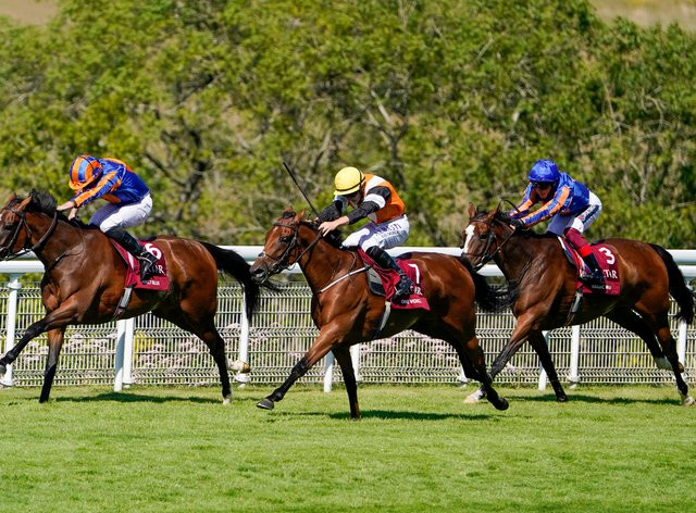 Fancy Blue (left) winning the Nassau Stakes at Goodwood