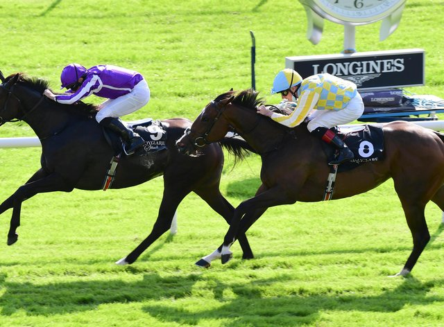 Shale (left) and Pretty Gorgeous were first and second in the Moyglare Stakes and will clash for a fourth time in the bet365 Fillies' Mile at Newmarket