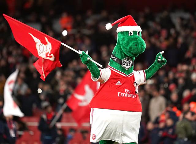 Arsenal's mascot Gunnersaurus