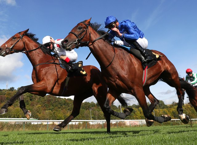 Irish Legend (left) gets the better of Royal Touch to make a winning debut at Nottingham