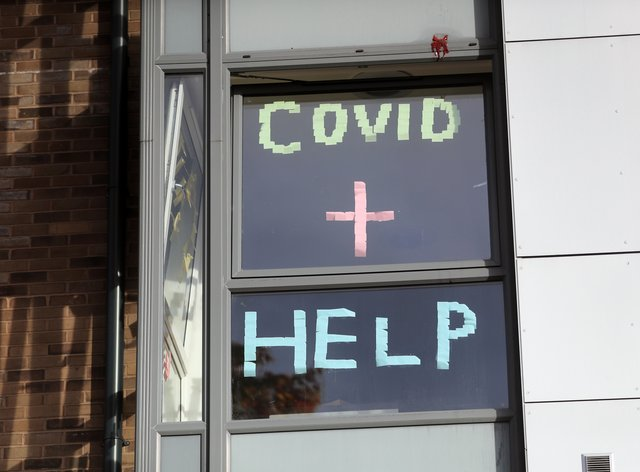 A sign in the window of the student accommodation at Nottingham Trent University