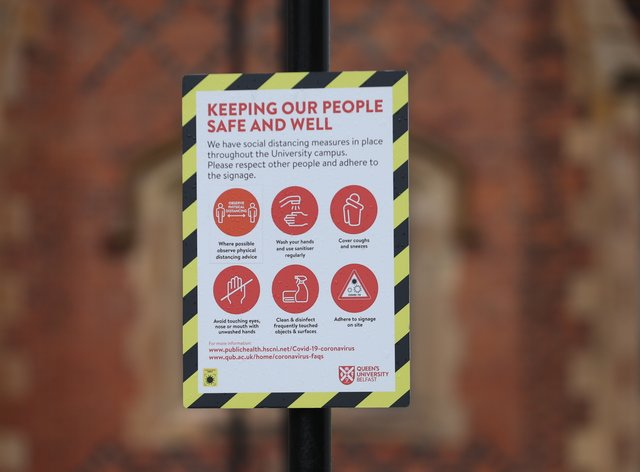 A sign outside Queen's University in Belfast