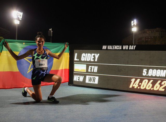 Letesenbet Gidey, who won a world silver medal in the 10,000m in 2019, has added to her achievements