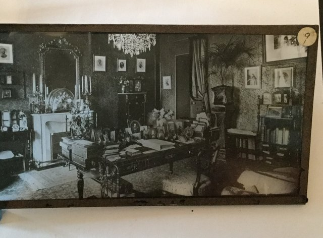 Glass plate image of Queen Victoria's sitting room in the Grand Hotel, Grasse