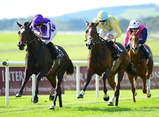 Shale (left) sees off Pretty Gorgeous in the Moyglare Stud Stakes