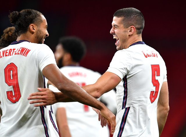 Dominic Calvert-Lewin, left, and Conor Coady claimed their first England goals during the win over Wales
