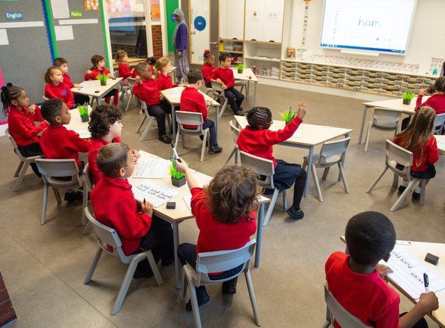 Primary school pupils in a classroom