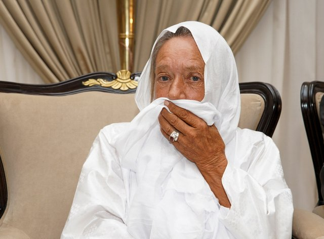 Sophie Petronin is seen at the presidential palace in Mali