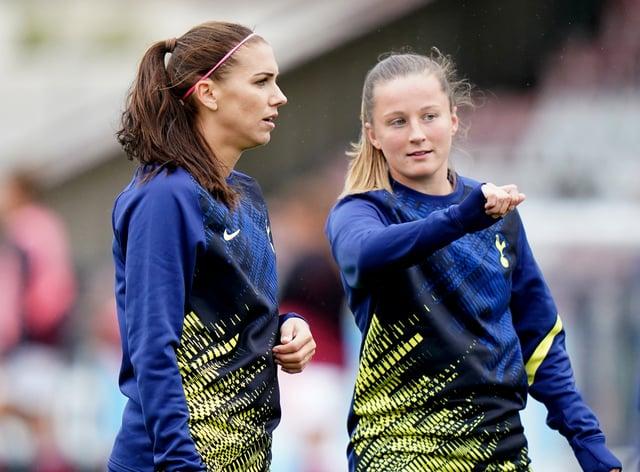Alex Morgan, left, is still awaiting her Tottenham debut