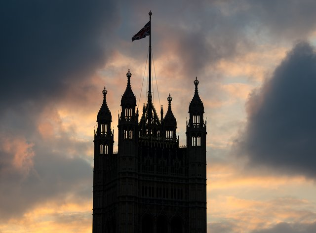 Sunset behind Victoria Tower at the House of Parliament