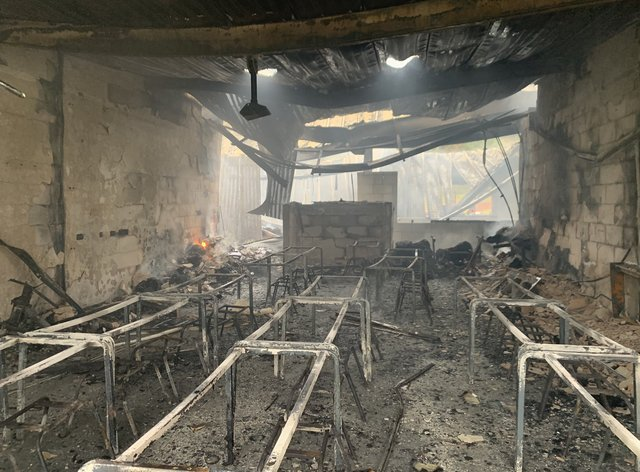 Damage from a blaze at St Mary's School in Darley Abbey, Derbyshire