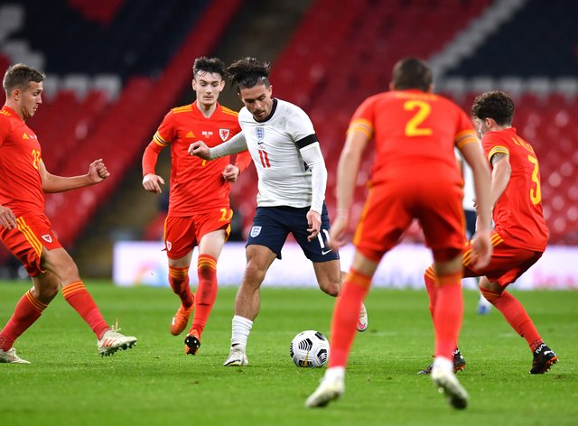 Jack Grealish, centre, was in imperious form for England against Wales