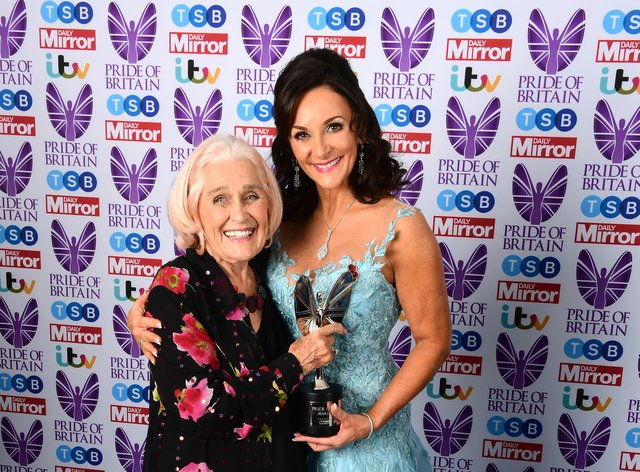 Dilys Price, left, with Strictly Come Dancing judge Shirley Ballas